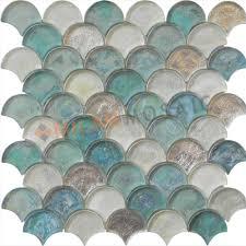 fan shaped green glazed glass mosaics glass tiles bathroom wall mosaic tiles mg fnp040