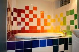 colorful bathroom accessories. Blue Yellow Bathroom Colorful Ideas With Red Green Tiles And White Ceramic Sink Gray Accessories S