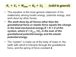 this equation is the most general statement of the relationship among kinetic energy potential energy