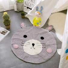 baby rugs cartoon fox bear rabbit round 80cm knit playmats for girls boys fashion carpet children s room decoration toys new baby rugs with