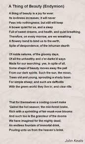 a thing of beauty endymion poem by john keats poem hunter