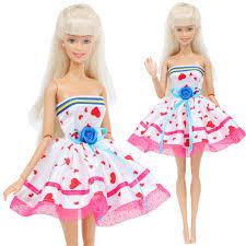 Đầm Hồng In Hình Trái Tim Cho Búp Bê Barbie