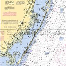 New Jersey Barnegat Bay Nautical Chart Decor Tropical