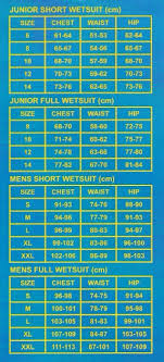 Aqualine Boys Mens Wetsuit Size Chart Wetsuit Warehouse