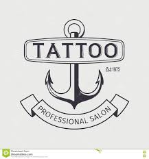 Tattoo Salon Logo Template With Anchor Stock Vector Illustration