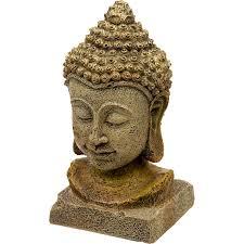 Buddha Head Decor Blue Ribbon Thai Buddha Head Aquarium Ornament Petco