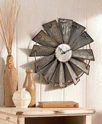 wall clock metal windmill rustic large round embossed farm country clocks decor and farmhouse kitchen wall decor