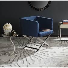 safavieh glam celine navy chrome cross leg club chair