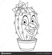 Cactus Cactussen Bloem Een Pot Kleurplaat Kleuren Foto Kleurboek