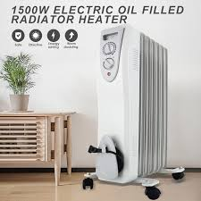 1500W Electric Oil Radiator Space Heater Room Thermostat Radiant Gray