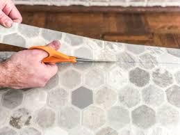 how to install sheet vinyl flooring over old tile cut out your template