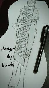 How To Draw Batik Designs Batik Combination Dress Dress Design Drawing Fashion