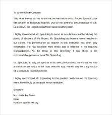 Substitute Teacher Letter Of Recommendation Cover Letter Samples