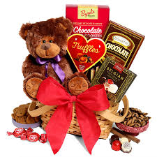 teddy bear chocolates gift basket