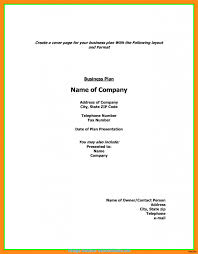 How Does A Cover Page Look Briliant What Does Cover Page Business Plan Look Like Fax Create