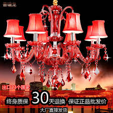 engineering cafe restaurant upscale big red crystal lamps crystal chandelier pendant lamp bedroom entertainment