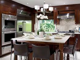 Square Kitchen Layout Fabulous Efficient Kitchen Layout With J Shape Dinning Set In Blue