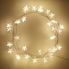 star shaped lighting. 30 Warm White LED Star Fairy Lights On Clear Cable Shaped Lighting