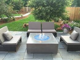outdoor gas fire pit table natural gas grey concrete fire pit with turquoise fire glass natural