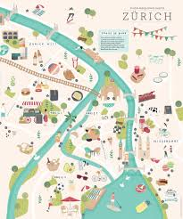 Map Design Illustrated Map Of Zurich Nathalie Ouederni Watercolor
