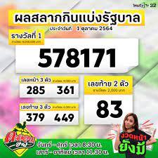 ThairathTV - 💰 สลากกินแบ่งรัฐบาล งวดประจำวันที่ 1 ตุลาคม 2564 รางวัลที่ 1  ได้แก่ 578171 รางวัล 3 ตัวหน้า 285 , 361 รางวัล 3 ตัวหลัง 379 , 449 เลขท้าย  2 ตัว 83 ตรวจรางวัลได้ที่ >> https://www.thairath.co.th/lottery #ตรวจหวย #
