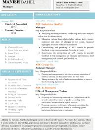 Chartered Accountant Resumes Download Latest Chartered Accountant Resume Sample Doc With