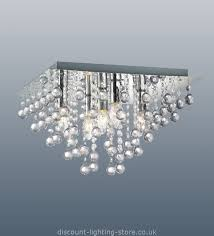 chic modern ceiling lights uk palazzo polished chrome square light with acrylic droplets 5