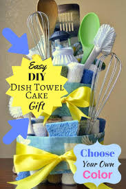 choose a color theme and make this diy gift for mom a dish towel cake