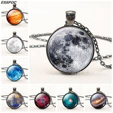 2019 full moon pendant necklace mars galaxy nebula glass cabochon black chain necklace fashion jewelry for women valentines day gifts from duoyun