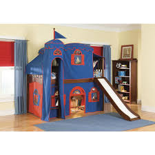 mission cherry twin low loft bed with blue and red tower top tent playhouse