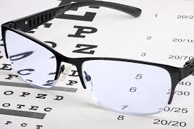 Lying Eye Chart Eye Glasses With Thin Frame Lying On Snellen Chart Stock