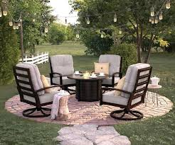 ashley patio furniture 5 castle island collection round dark brown metal patio fire pit coffee table laura ashley outdoor furniture cushions