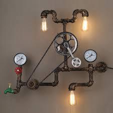 steampunk lighting. simple lighting vintage loft wall lamp wheel gear chain shade industrial socnce  luminaire lights home in steampunk lighting o