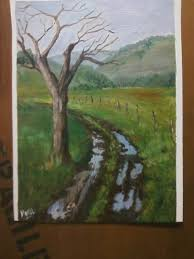 "Myra Reeves Painted ""Clark County Road"" with me last night March 2, live on  YouTube. Love the road, puddles and the mood of this painti… 