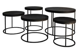 round black oak top side table omero home