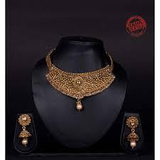 Designer Chick Advika Golden Designer Polki And Kundan Chick Set J30