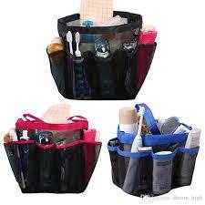 2019 quick dry oxford storage bags hanging mesh bathroom bag 8 pocket shower caddy organizer travel cosmetics portable bath bags from dream high