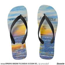 Canvas Designers Florida 2019 Spring Break Florida Ocean Sunset Flip Flops Zazzle