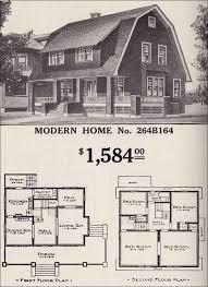 Dutch Colonial Revival  Sears Modern Home No 264B164  Shed Gambrel Roof House Floor Plans