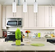 Modern Kitchen Interiors Modern Kitchen Interior With Natural Stone Countertop Stock Photo