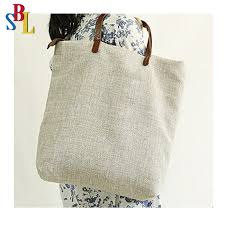 natural eco friendly large jute tote bag with leather handles oem