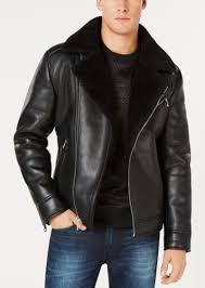 guess men s faux leather fleece lined asymmetrical full zip moto jacket