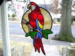 sun catcher stained glass details about stained glass scarlet macaw parrot sun catcher real glass stained