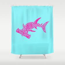 nancy s hot pink tribal hammerhead shark shower curtain