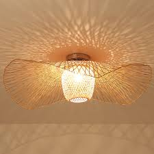 Asian Ceiling Lights Us 46 8 22 Off Bamboo Wicker Rattan Shade Cap Ceiling Light Fixture Creative Rustic Asian Nordic Country Japan Lamp Design Bedroom Study Room In