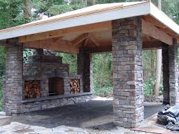 patio outdoor fireplace ideas stone covered living hearth