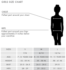 Girls Clothing Chart Oneill Apparel Size Chart