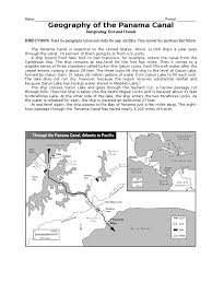 geography of the canal map worksheet