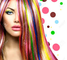 colorful hair and makeup beauty fashion model stock photo 25729042