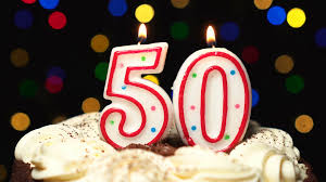 Number 50 On Top Of Cake Fifty Birthday Candle Burning Blow Out